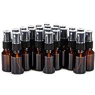 Vivaplex, 24, Amber, 15 ml (1/2 oz) Glass Bottles, with Black Fine Mist Sprayer's