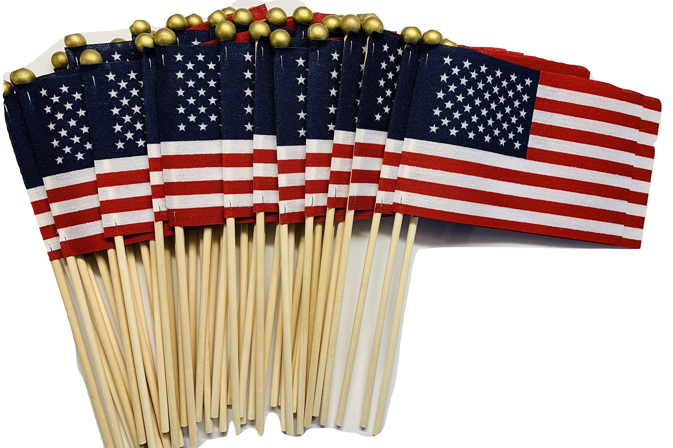 Lot of -50-4x6 Inch US American Hand Held Stick Flags Safety Ball Top on 10 Inch Dowel for Schools and Business WindStrong Made in The USA by WINDSTRONG