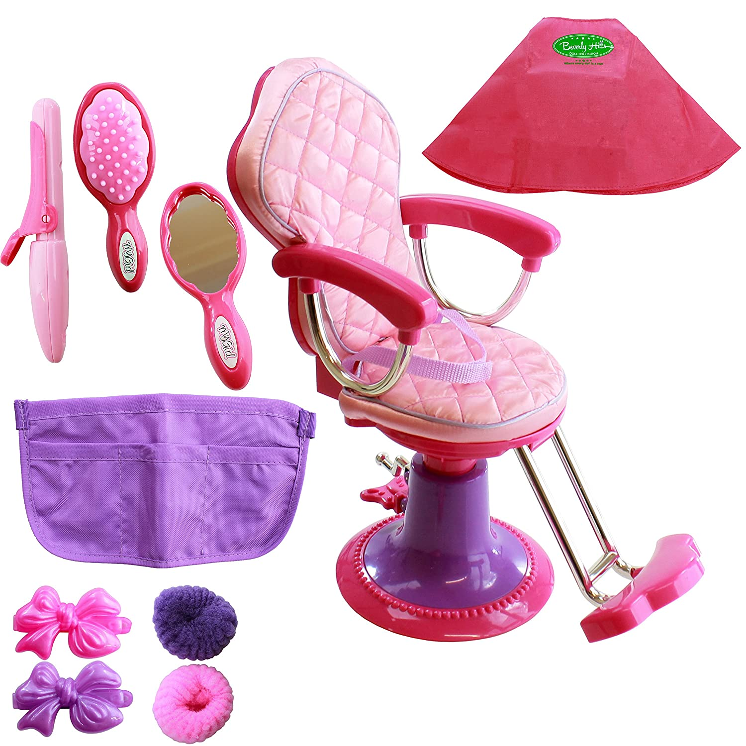 Beverly Hills Doll Collection Salon Chair for 18 Inch American Girl Dolls Fully Assembled with 8 Hair Cutting Accessories