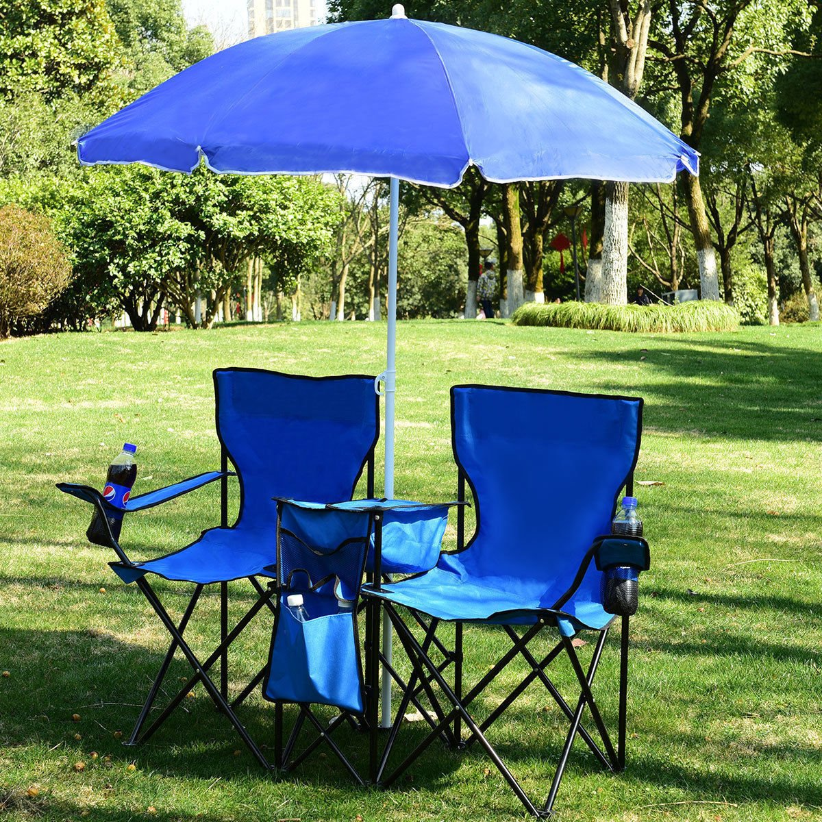 ANA Store Blue Nature-Loving Activity Station Set Fishing Picnic Beach Camping Convenience Portable Folding Table Duo Seat Cooler Bag Removeable Canopy