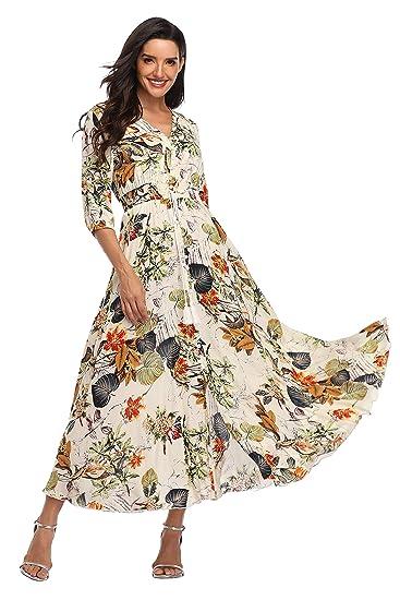 49c4e63e09170 Summer Floral Print Maxi Dress Women Button Up Split Long Flowy Bohemian  Beach Party Dresses