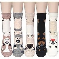Damen Mädchen Baumwolle Socken 4/5 Paare, Cartoon Süße Design mit Lustiger Tiere Malerei MEHRWEG