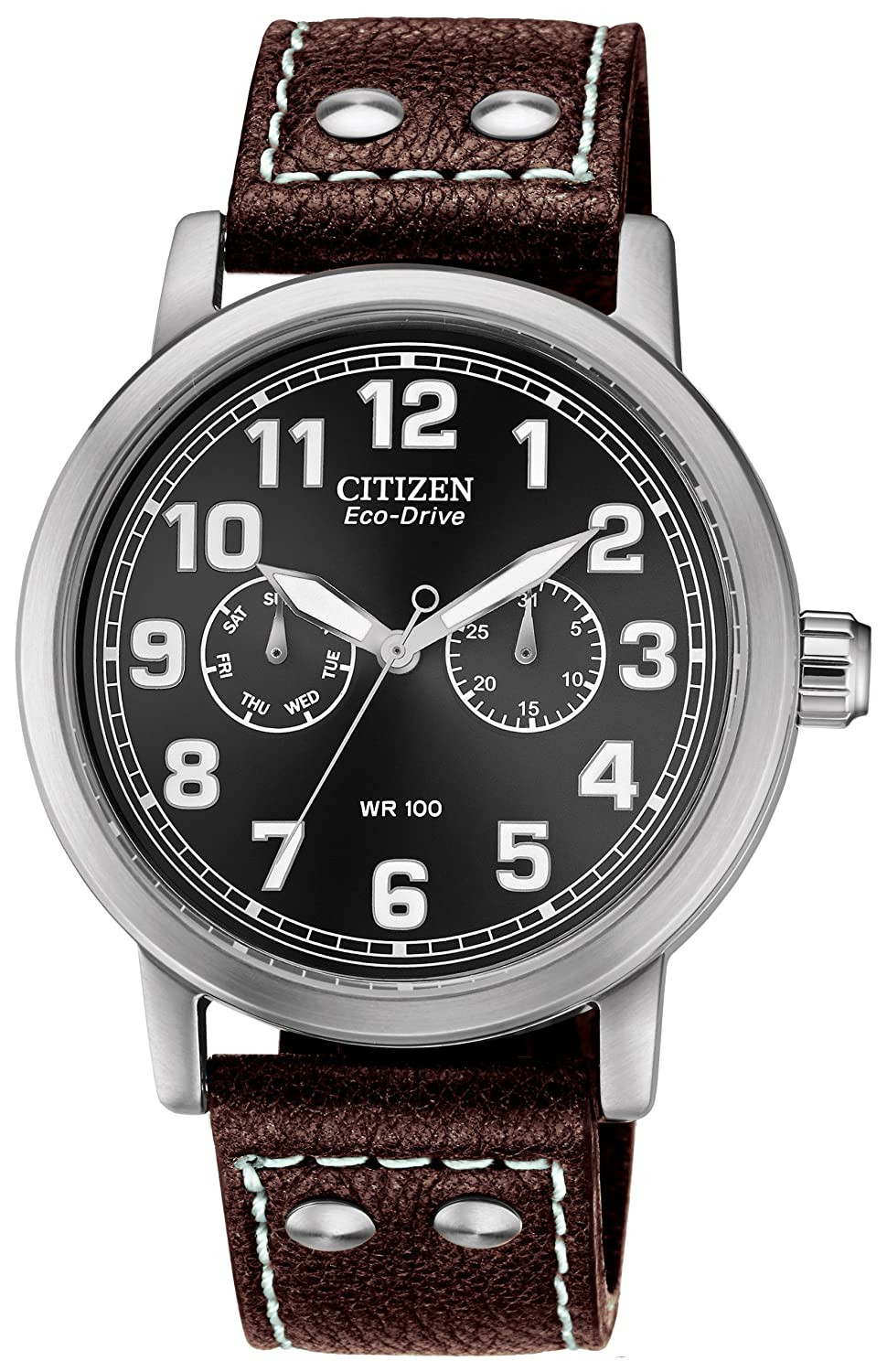 c6dcd99f847 Citizen Watch Avion Men s Quartz Watch with Black Dial Analogue Display and Brown  Leather Strap AO9030-13E  Amazon.co.uk  Watches