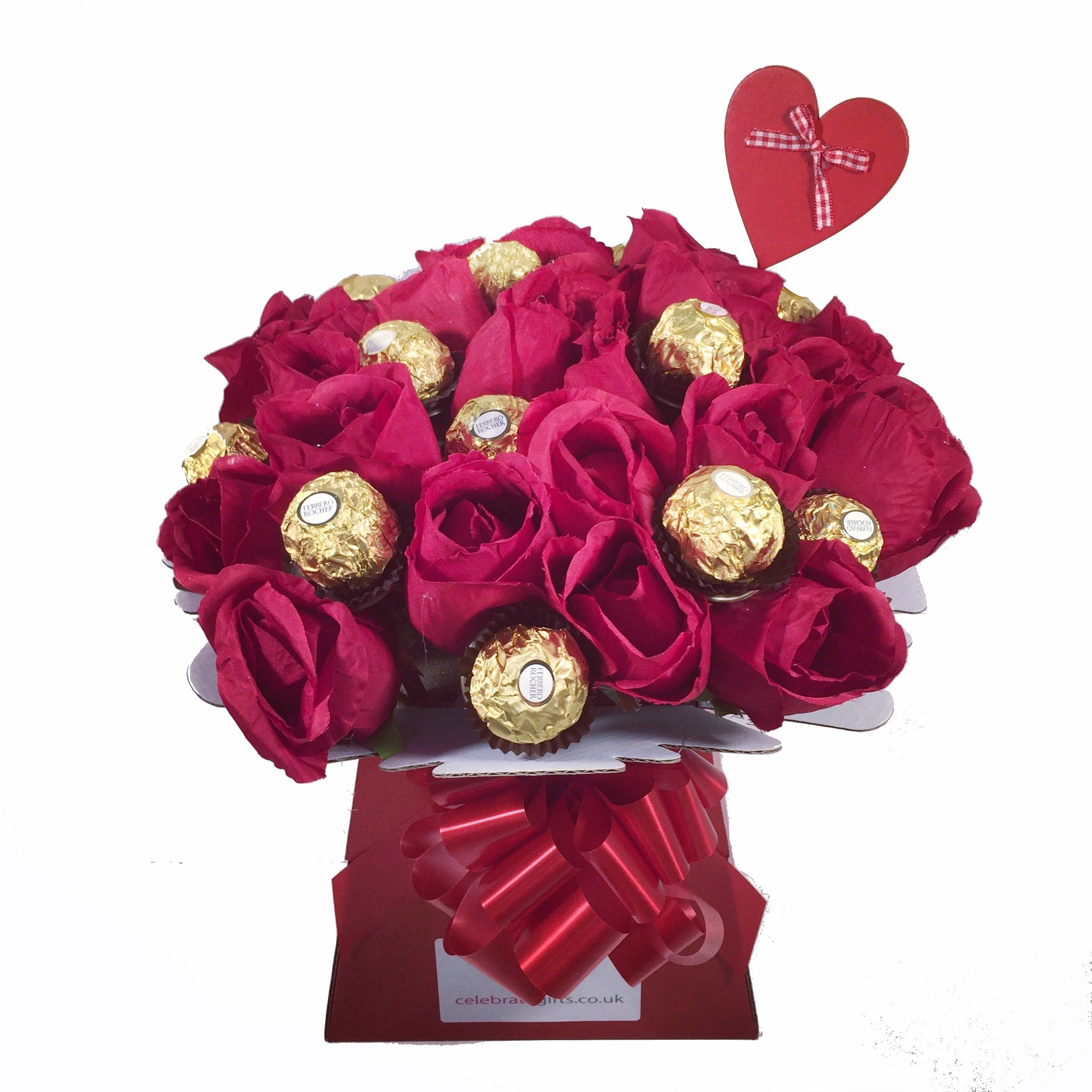 Chocolate roses amazon luxury silk red roses and ferrero rocher chocolate bouquet izmirmasajfo