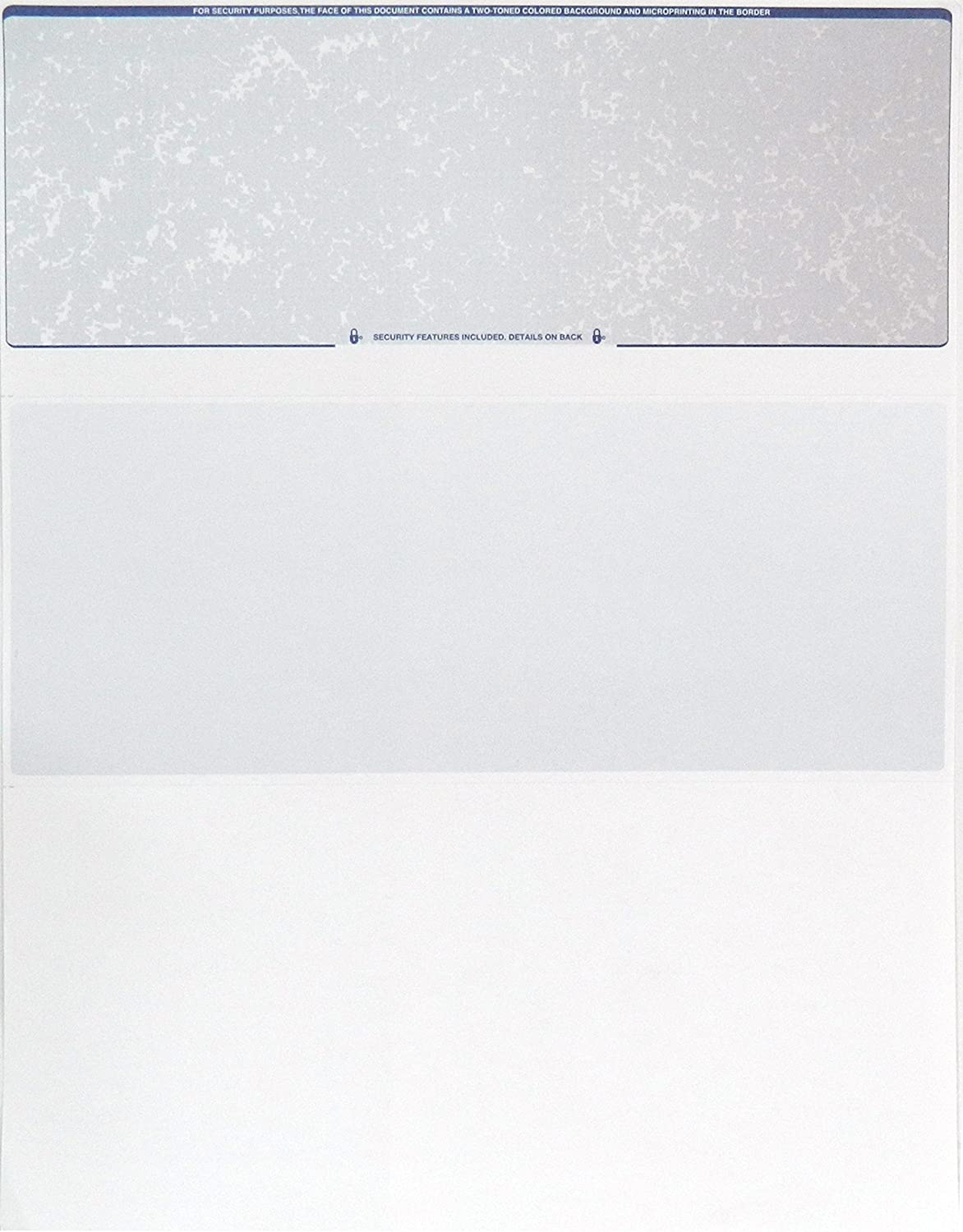 Endoc Computer Check Paper - 50 Pack - Blank Stock Check on Top and Stub on Bottom - Security Features & Laser Printer Compatible for Home and Business - Blue/Red Prismatic