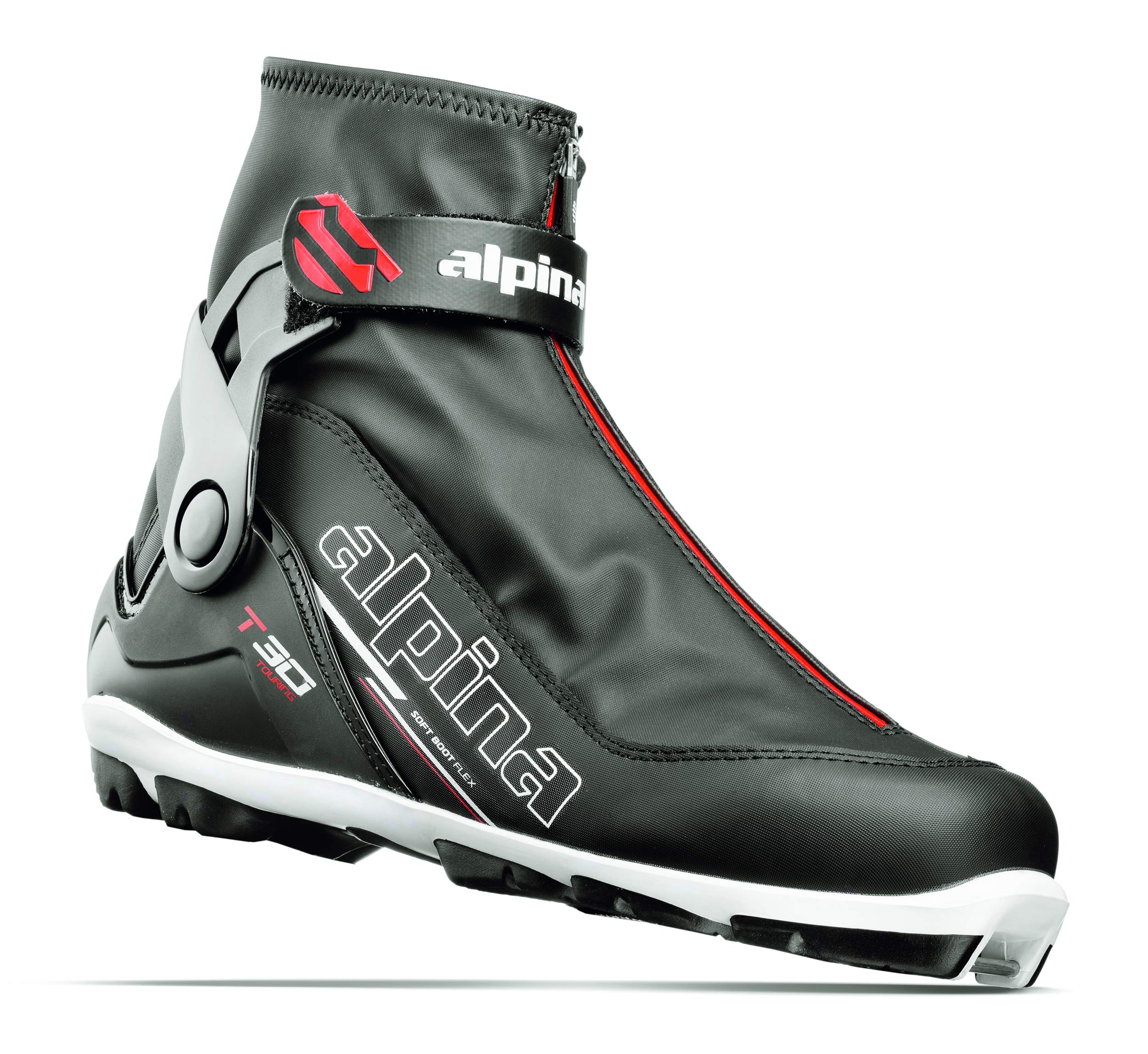Alpina Sports T30 Cross Country Touring Ski Boots, Black/White/Red, Size 35