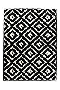 Tapiso Alfombra De Salón Moderna Colección Marroquí – Color Negro Blanco De Diseño Geométrico Enrejado – Mejor Calidad – Diferentes Dimensiones S-XXXL 160 x 220 cm