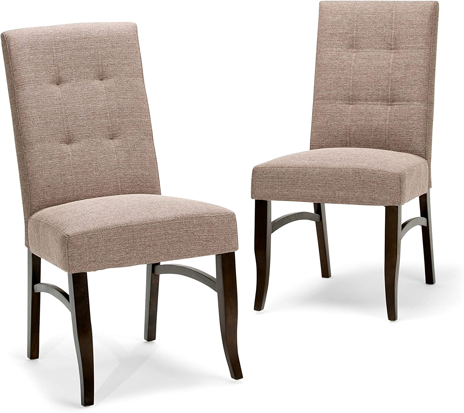 SIMPLIHOME Ezra Contemporary Deluxe Dining Chair (Set of 2) in Fawn Brown Linen Look Fabric