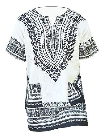 b723d41c9ef Amazon.com  Dupsie s White Traditional African Print Unisex Dashiki ...