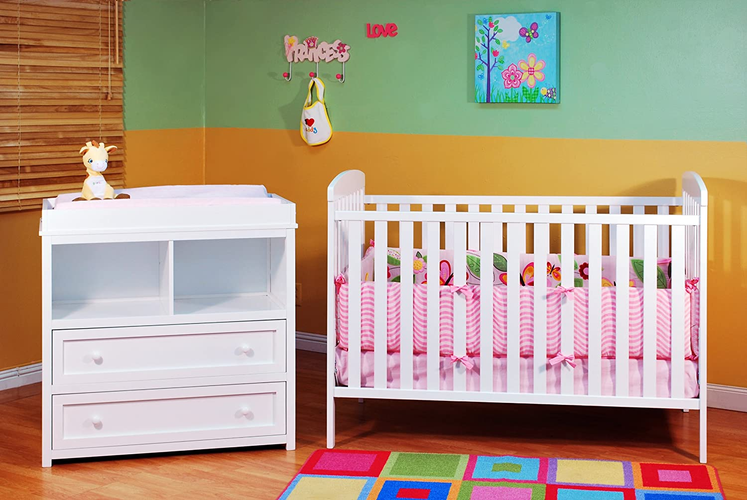 Athena Leila 2 Piece Nursery Set, White