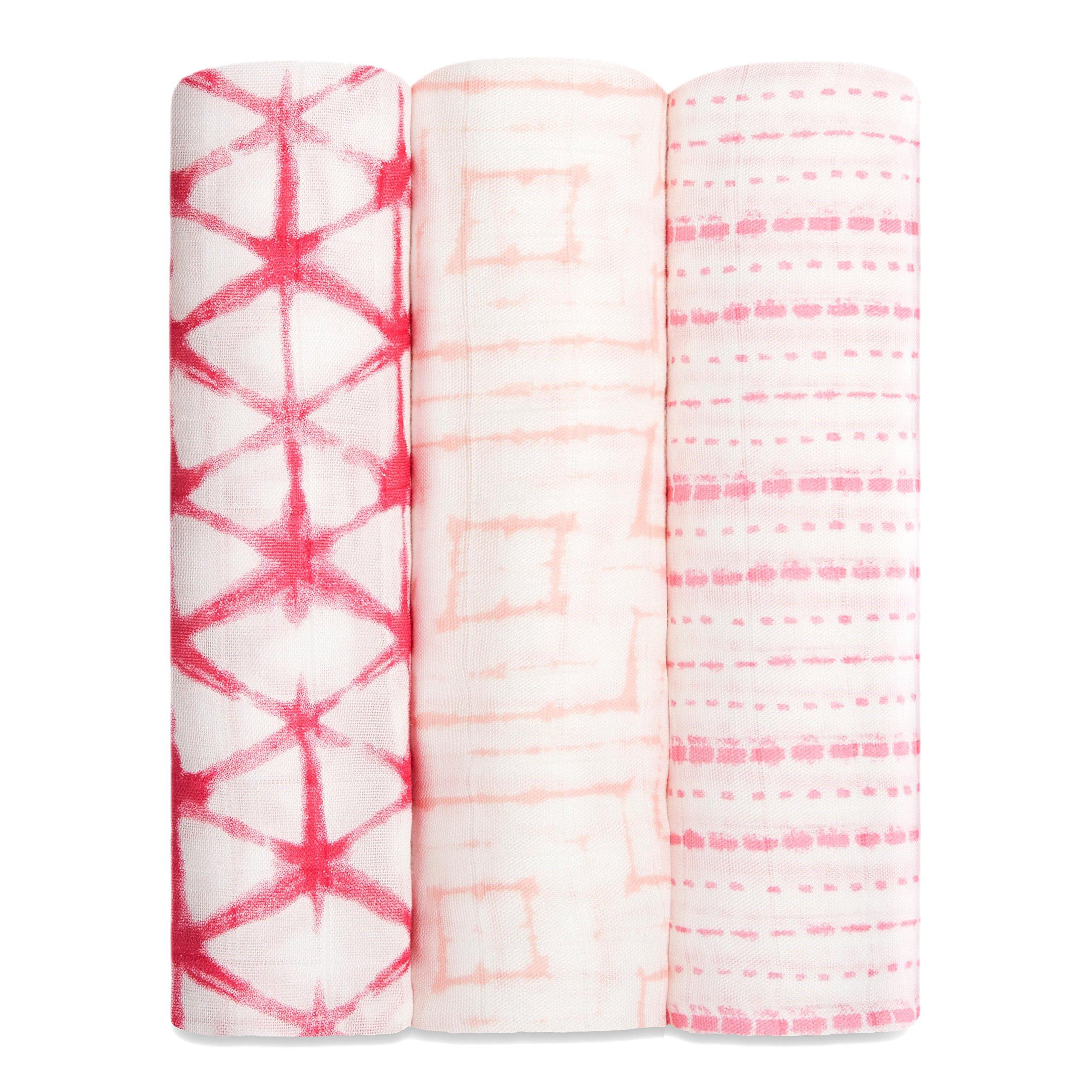 aden + anais silky soft swaddle 3 pack, berry shibori