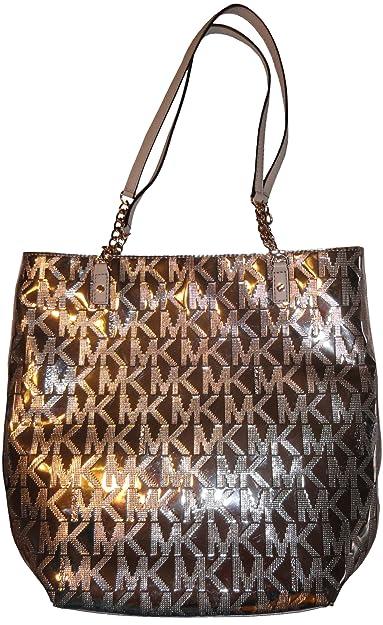 cdf8370ae8817f Amazon.com: Women's Michael Kors Purse Handbag North/South Jet Set Chain  Tote Signature Logo Mirror Metallic Rose Gold: Shoes