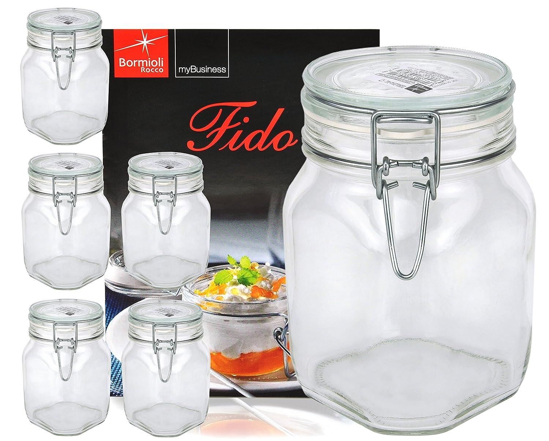 6er Set Einmachglas Bügelverschluss Original Fido 1,0L incl ...
