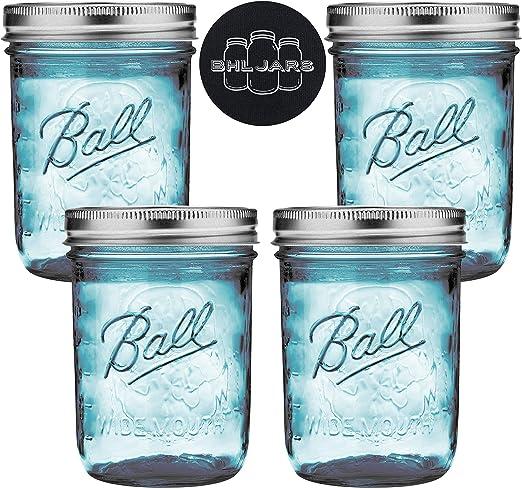 Mason Jar Storage Canister Turquoise Blue 100 Oz Kitchen Multi Uses