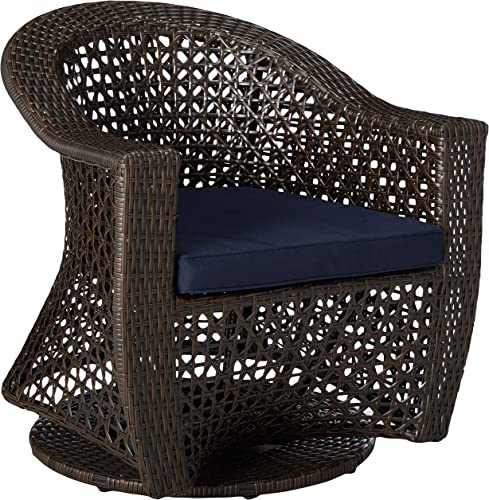 Christopher Knight Home Jacqueline Patio Swivel Chair, Wicker with Outdoor Cushions, Multi-Brown, Navy Blue