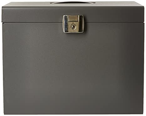 Esselte 11896 - Maleta metálica de archivo con 5 carpetas colgantes A4, color gris (