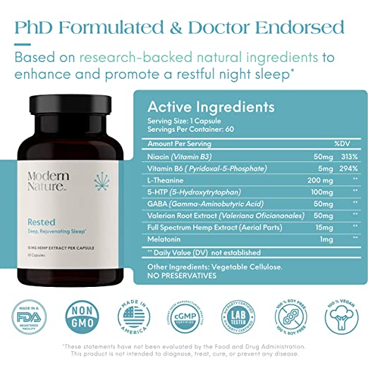 Amazon.com: Rested - Natural Sleep Aid Supplement | 60 Capsules | with Melatonin, Valerian Root Extract, L-Theanine, Hemp Extract, GABA, 5-HTP, ...