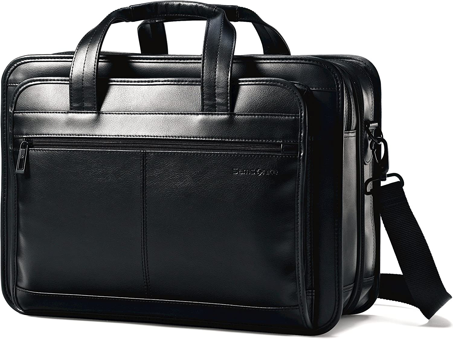 Samsonite leather expandable business case Black Briefcase