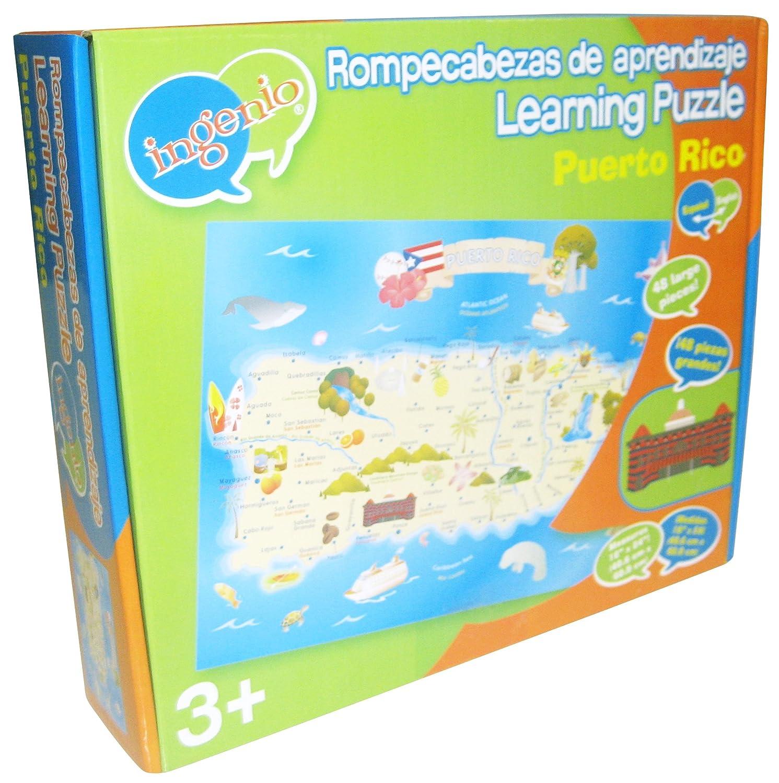 Amazon.com: Ingenio Puerto Rico Map Bilingual Learning Puzzle: Toys ...
