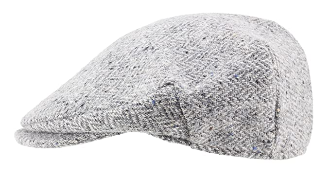 dcfaa84c99cf1 Image Unavailable. Image not available for. Color  100% Handmade Handwoven  Tweed.Irish Flat Cap.Silver Grey Herringbone.made by