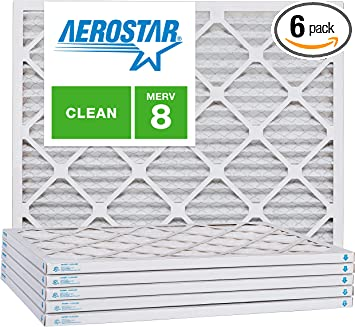 """MERV 8 6 Pack of 14/"""" x 14/"""" x 1/"""" Pleated Furnace Air Filter"""
