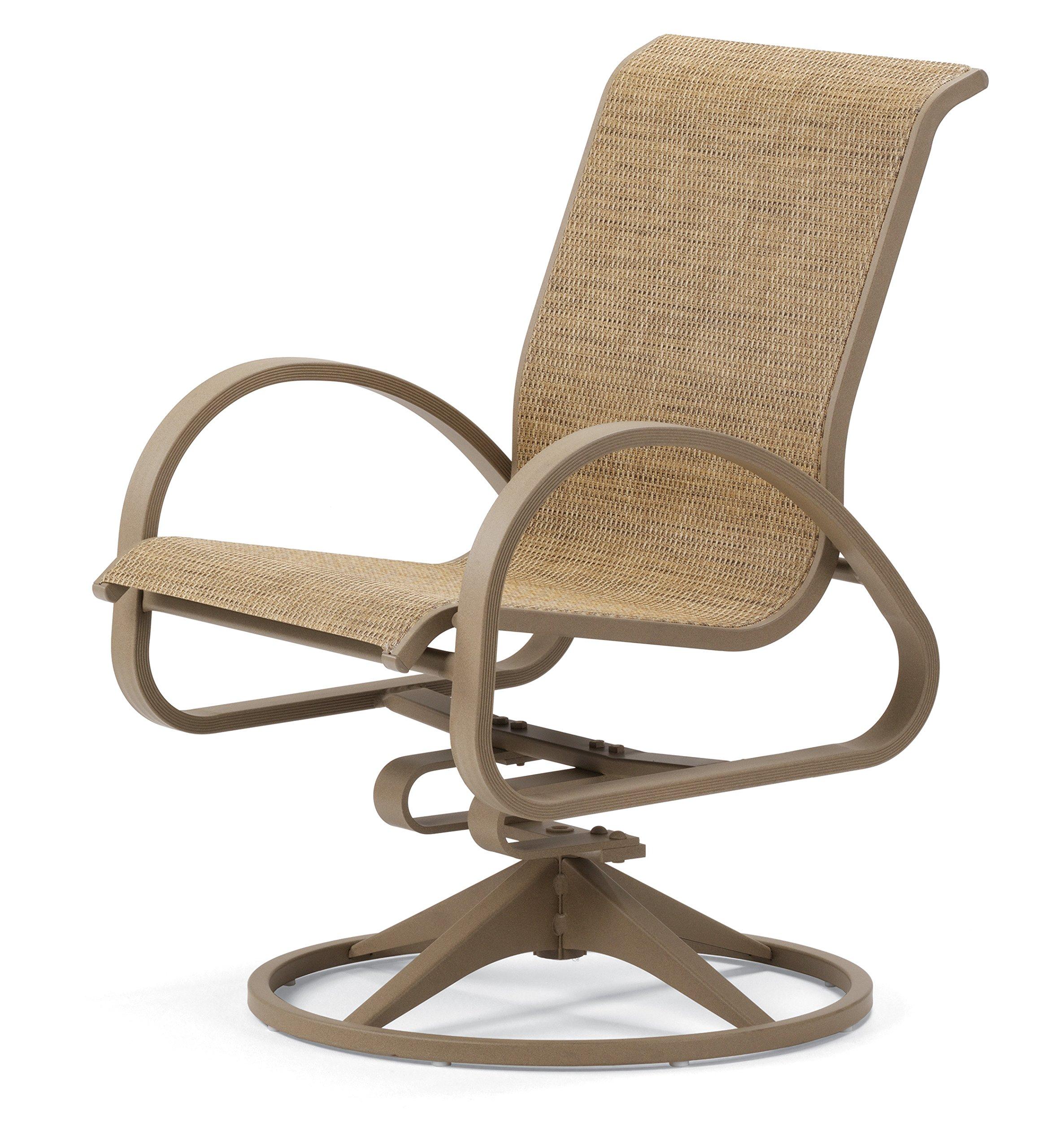 Telescope Casual Furniture Aruba II Sling Collection Aluminum Swivel Rocker, Pecan, Textured Desert Finish