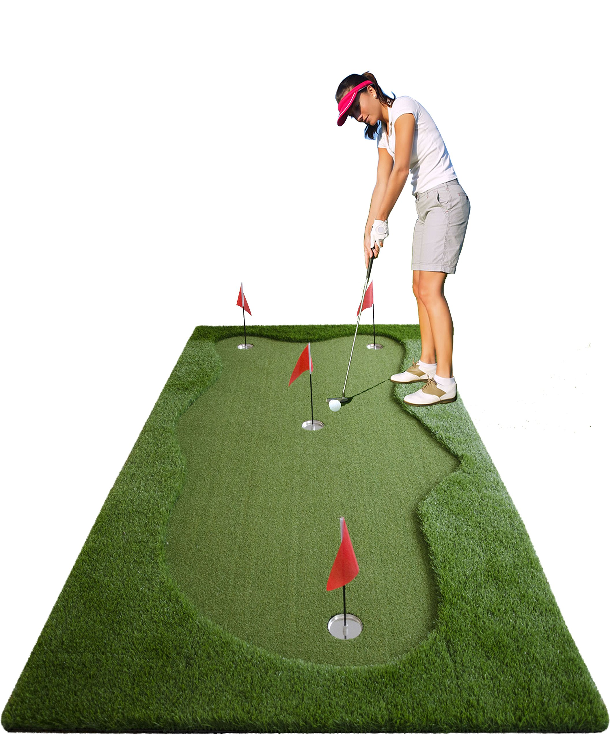 77tech Golf Putting Green System Professional Practice Long Indoor/Outdoor Challenging Putter Made of Waterproof Rubber Base Golf Simulator Training Mat Aid Equipment (5'x10' upgrade2)