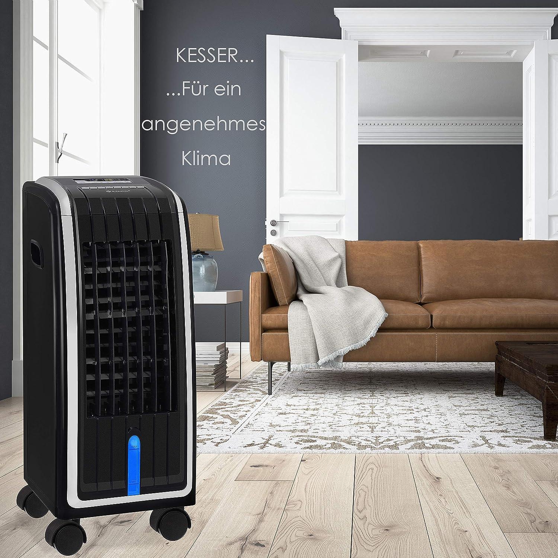 Ventilator Klimaanlage Fernbedienung 7 L Tank Klimager/ät KESSER/® 4in1 Mobile Klimaanlage Timer Ionisator Luftbefeuchter Luftk/ühler Schwarz//Silber 3 Stufen