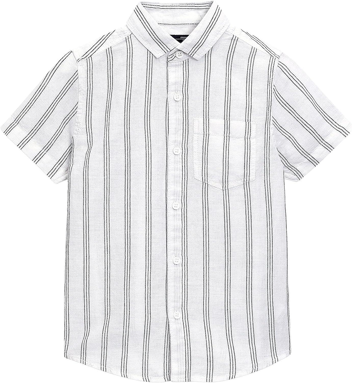 next Niños Camisa De Mangas Cortas En Mezcla De Lino (3-16 Años) Raya Vertical Blanca 16 años: Amazon.es: Ropa y accesorios