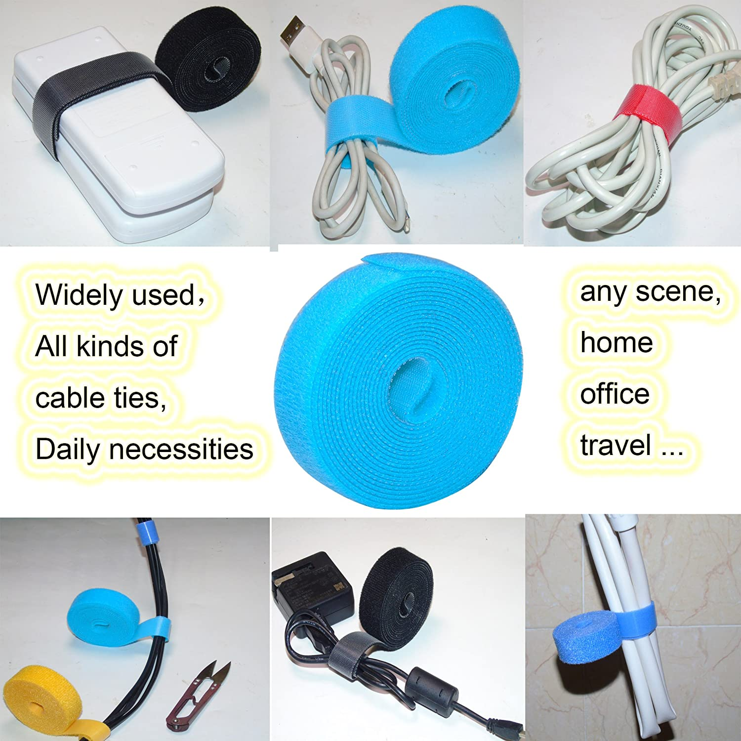 Ceeyali 6 Roll Reusable Cable Wire Organizer Straps Cable Management Ties for Cable Cord Wire Daily Goods Management Large Width 2cm