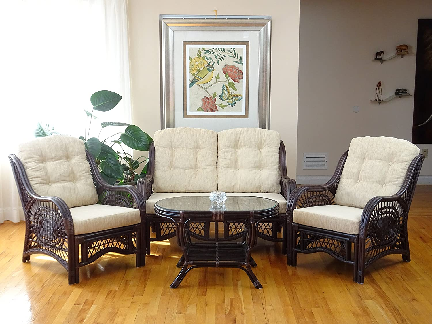 Malibu Rattan Wicker Living Room Set 4 Pieces 2 Lounge Chair Loveseat sofa Coffee Table Dark Brown Cream Cushions