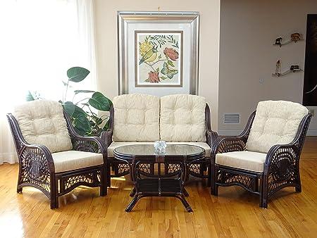 Malibu Rattan Wicker Living Room Set 4 Pieces 2 Lounge Chair Loveseat sofa Coffee Table Dark Brown Cream Cushions