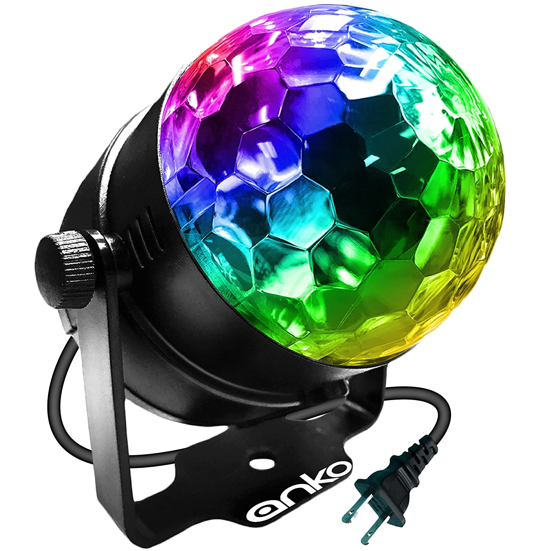 ANKO Mini LED Stage Magic Light 7 Color Changes Sound Active RGB Mini LED Rotating Magic Ball Lights For KTV Party Wedding Show Club Pub Disco DJ And More BLACK 1 PACK