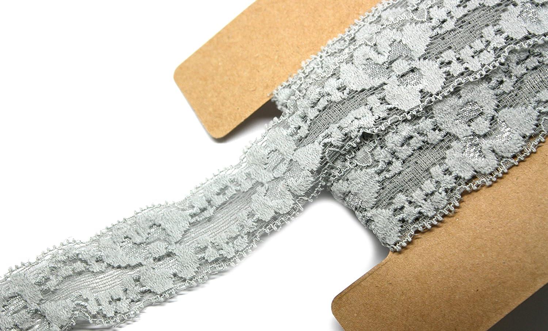 1 Inch Wide 12 Yards Trim Lace for Headbands Weddings JLIKA Stretch Lace Elastic Lavender