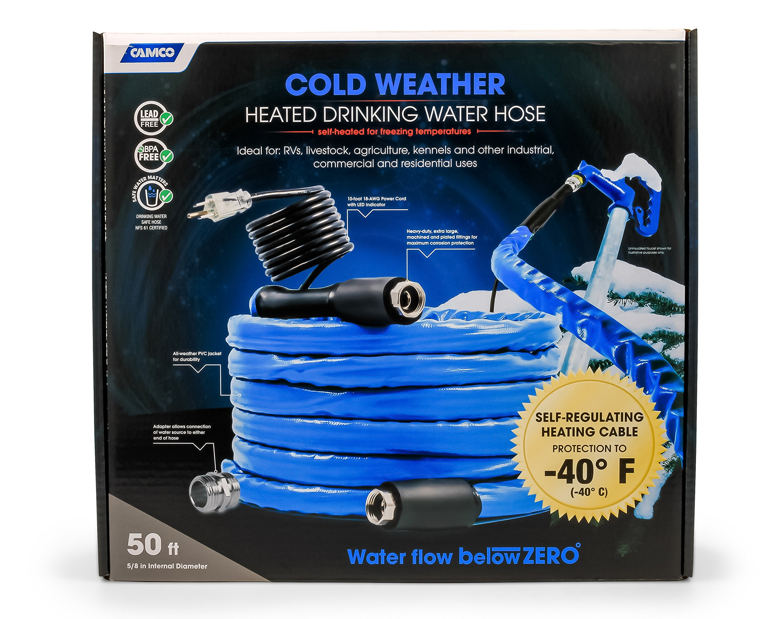 Camco 50ft Cold Weather Heated Drinking Water Hose Can Withstand Temperatures Down to -40°F/C - Lead and BPA Free, Reinforced for Maximum Kink Resistance 5/8'' Inner Diameter (22925)