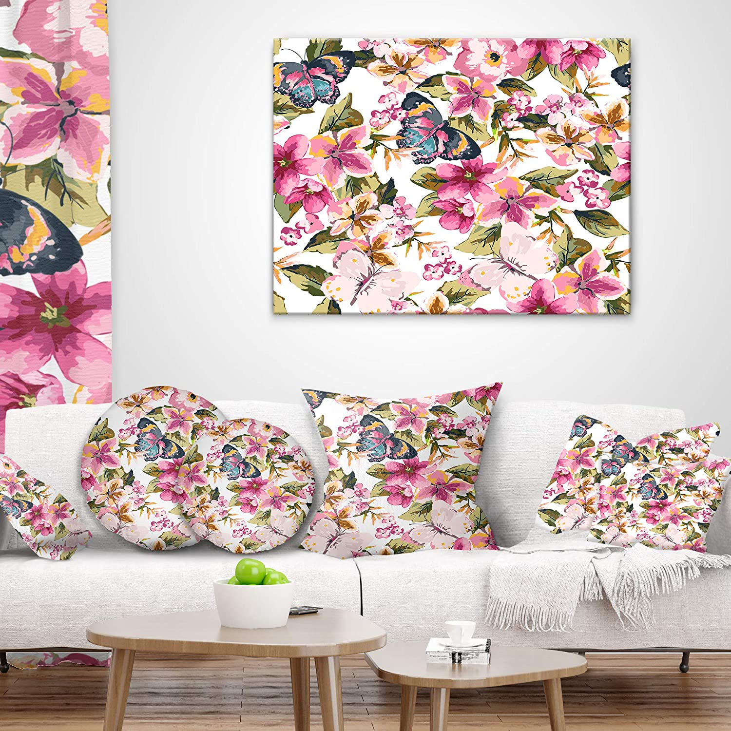 Sofa Throw Pillow 12 in Designart CU11839-12-20 Butterflies with Seamless Pattern Floral Lumbar Cushion Cover for Living Room x 20 in in