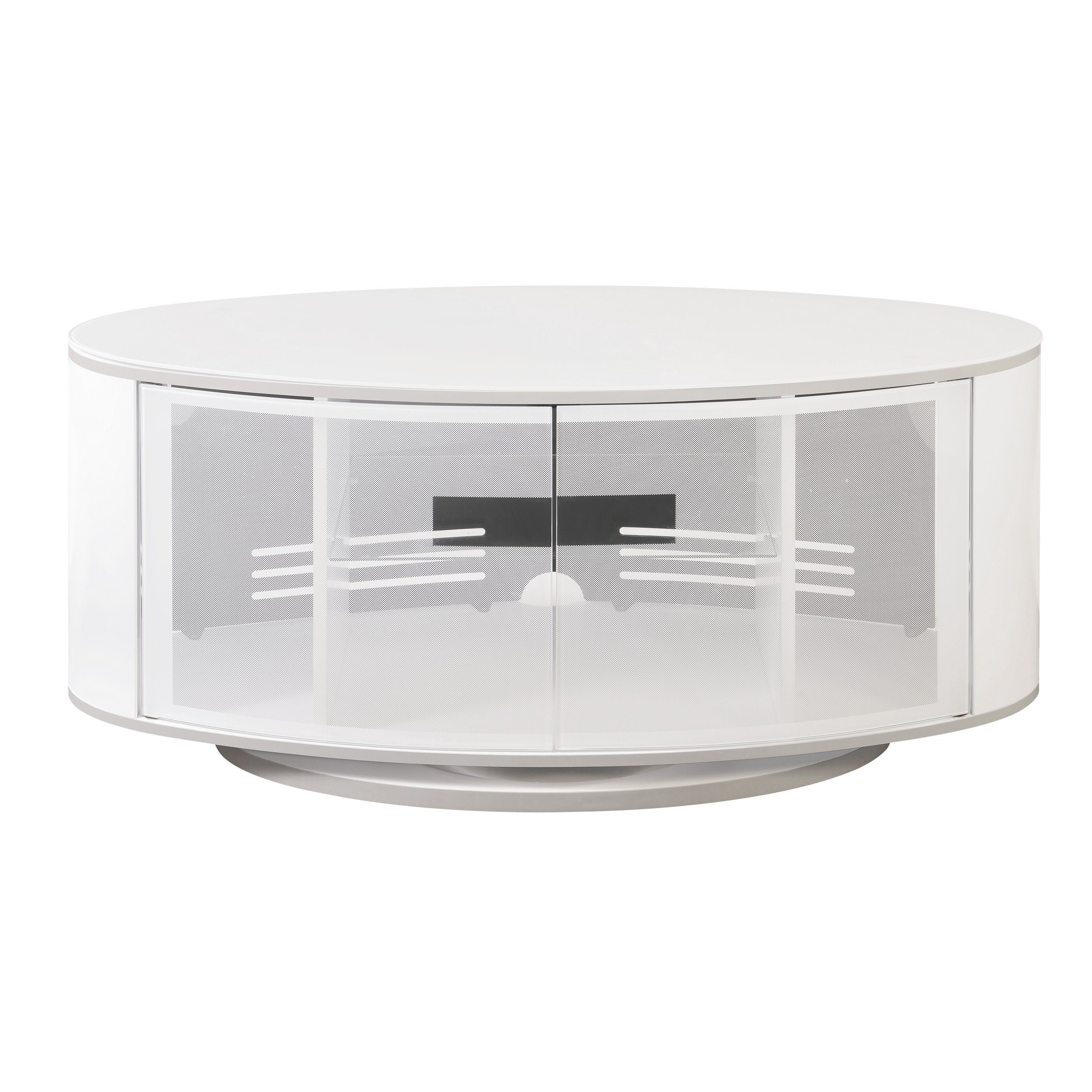 Emerald Home Modern Home High Gloss White TV Console with Glass, Beam Through Doors And Swivel Base