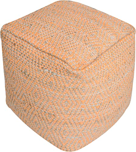 TOV Furniture Inca Geometric Square Fabric Pouf, 18 , Natural