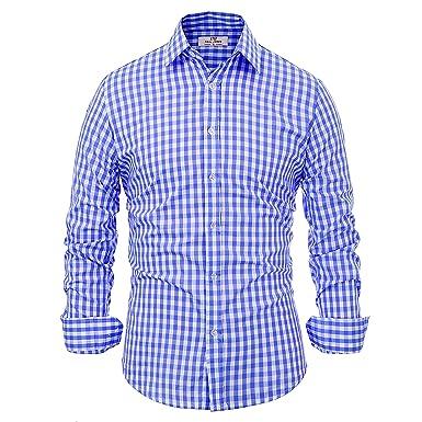 e381faaa Amazon.com: Paul Jones Casual Plaid Dress Shirts for Men Checkered ...