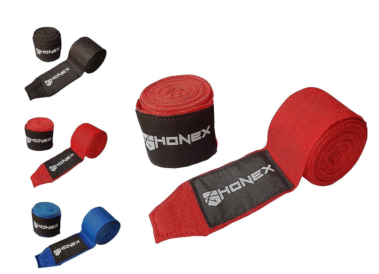 HONEX lucha boxeo vendas 4Meter–cintura calidad profesional mano Wraps con extra ancho cierre de velcro (rojo) 322 Traders LTD