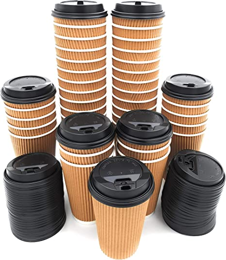 Premium Disposable Paper Coffee Cups with Lids Stylish Ripple Wall Design ,Double Wall Insulated