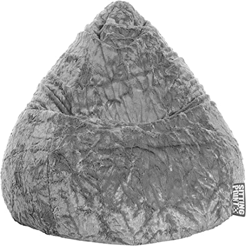 Gouchee Home Fluffy Collection Contemporary Oversized Faux Fur Upholstered Bean Bag Chair, Gray