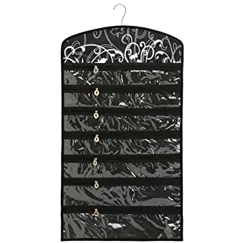 Amazoncom Black Floral 40 Zipper Pockets Dual Sides Spacesaving