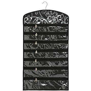 Amazoncom Black Floral 40 Zipper Pockets Dual Sides Spacesaving