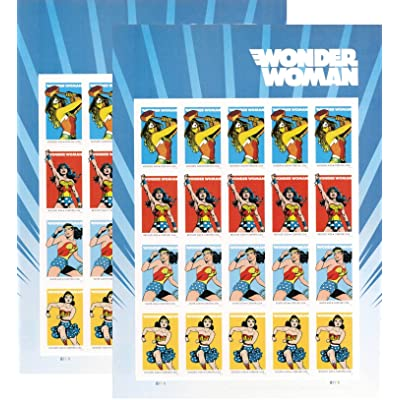 USPS 2016 Wonder Woman Set of 2 Sheet of 20 Forever Stamps .: Toys & Games