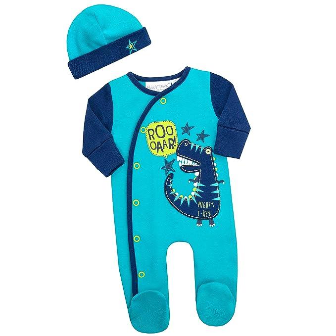 Baby Boys Dino Babygro Sleepsuit Romper 2 Piece Hat Bib Set New Baby Gift Cheap
