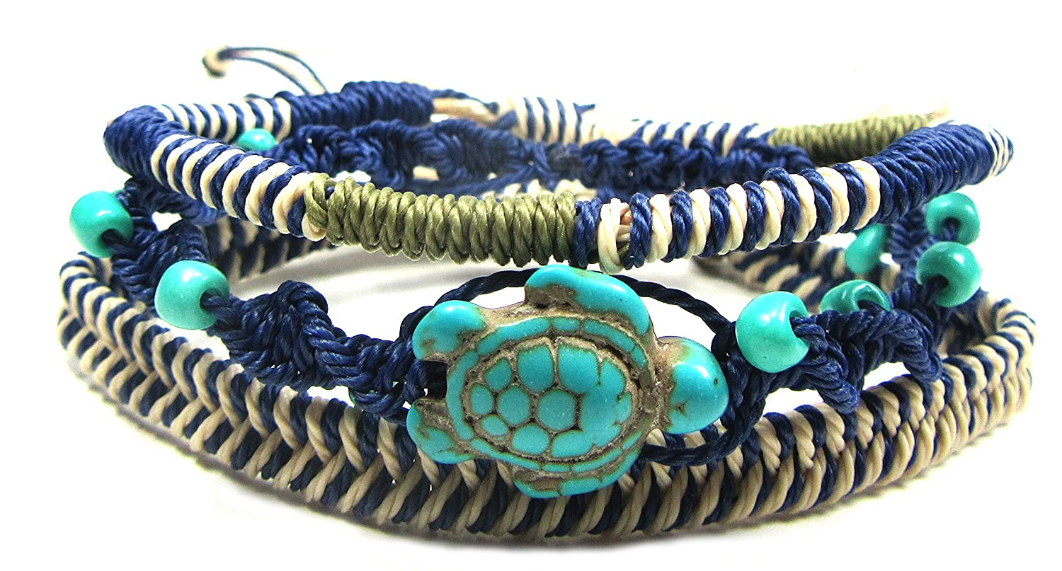 Exotic & Trendy Jewelry, Books and More Turtle Hemp Bracelet-Black Bracelet with Turtle in Turquoise Color-Hawaiian Sea Turtle Bracelet-Hemp Bracelet NA