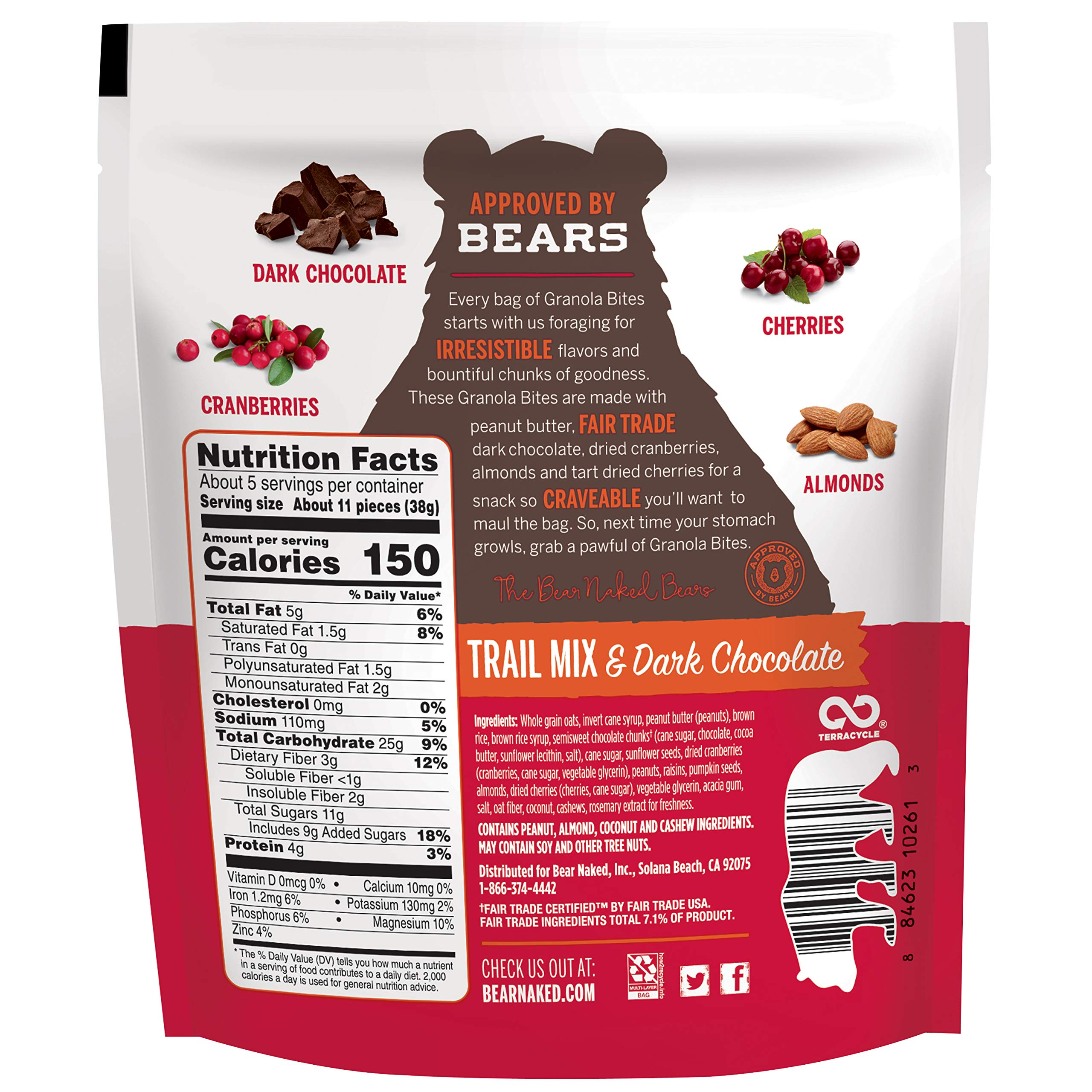Bear Naked Trail Mix & Dark Chocolate Granola Bites - Gluten Free | Non-GMO | Kosher | Vegan - 7.2 Oz (6Count) by Bear Naked (Image #2)
