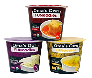 Oma's Own Organic Instant Rice Noodle Cups, High Protein, Vegan, Gluten Free, Product of USA (Variety Pack 12 Count)