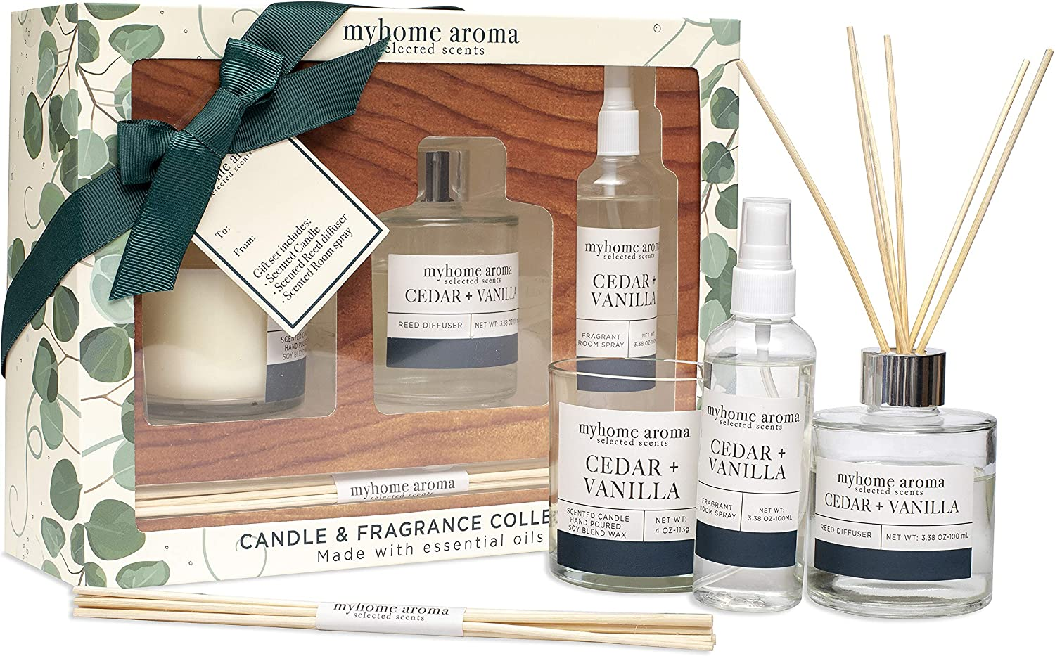 myhome aroma Candle & Fragrance Collection Gift Box Include Oil Reed Diffuser Scented Candle & Perfume Room Spray Cedar + Vanilla